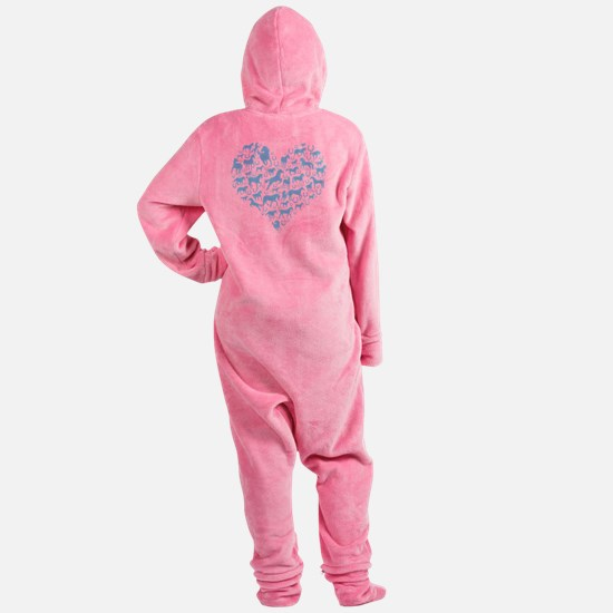 horse heart light blue Footed Pajamas