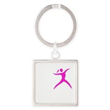 Javelin Chick White Square Keychain