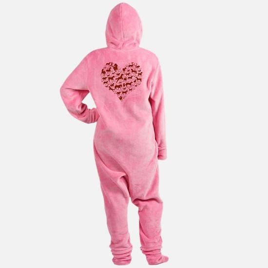 horse heart brown Footed Pajamas