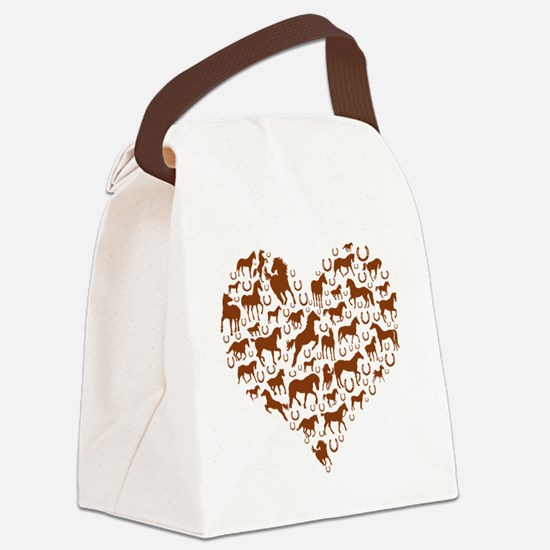 horse heart brown Canvas Lunch Bag
