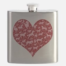 horse heart pink red Flask