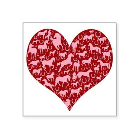 "horse heart pink red Square Sticker 3"" x 3"""