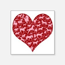 """horse heart pink red Square Sticker 3"""" x 3"""""""