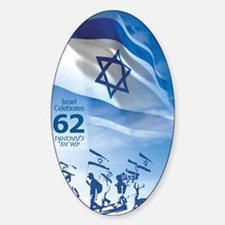 Marching Flag Israel at 62 Decal