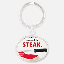 Steak Oval Keychain