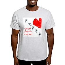 Footprints in my Heart Ash Grey T-Shirt