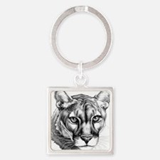 Panther Grayscale Square Keychain