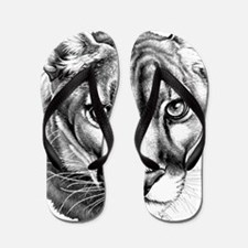 Panther Grayscale Flip Flops