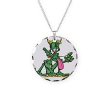 elf snot white outline Necklace Circle Charm