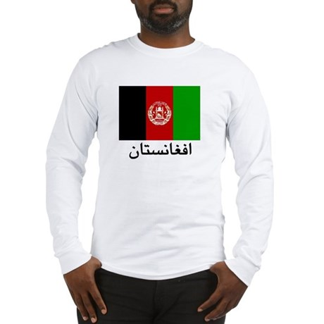 Afghanistan Flag with Farsi Long Sleeve T-Shirt