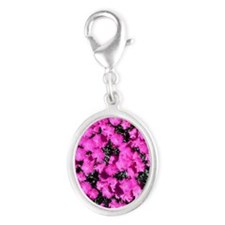 Dianthus Throw Pillow Silver Oval Charm
