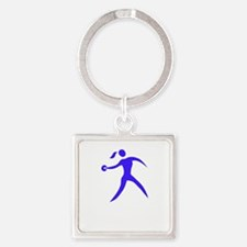 Discus Chick White Square Keychain