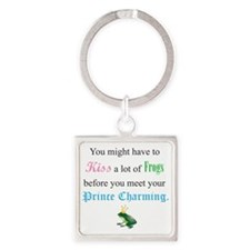Kiss a Frog Square Keychain
