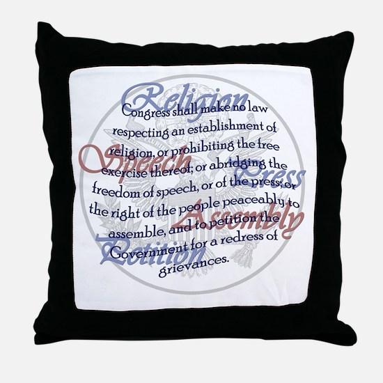 1st Amendment Throw Pillow