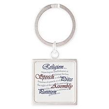 1st Amendment Square Keychain