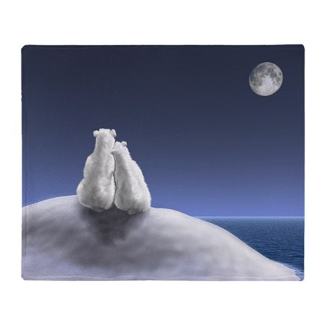 Polar Bears by Moonlight Blanket
