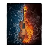 Fire and water violin Fleece Blankets
