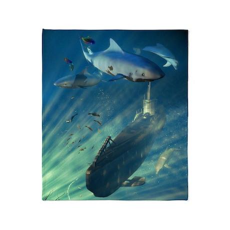 Submarine and Sharks Blanket