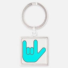 I Love You Cyan.gif Square Keychain