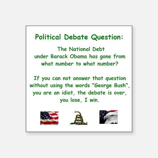 "National debt Square Sticker 3"" x 3"""