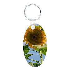 Sunflower Journal Aluminum Oval Keychain