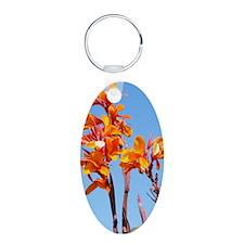 Tropical Flower Journal Aluminum Oval Keychain