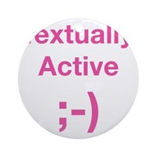 Textually-Active-Pink Round Ornament