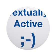 Textually-Active-Blue Round Ornament