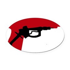 GasPumpGun_lites Oval Car Magnet