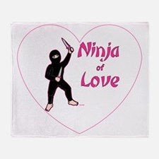 Pink-Ninja-of-love-in-a-heart-002-TR Throw Blanket