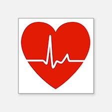 """HeartBeatsRed Square Sticker 3"""" x 3"""""""