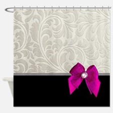 Silver Damask Pink Bow Shower Curtain