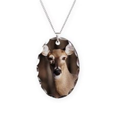 Whitetail Deer Doe Necklace Oval Charm