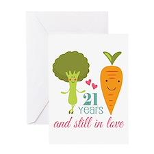 21 Year Anniversary Veggie Couple Greeting Card