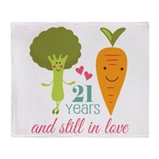 21 Year Anniversary Veggie Couple Throw Blanket