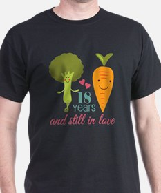 18 Year Anniverary Veggie Couple T-Shirt