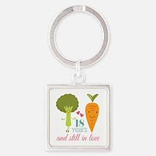 18 Year Anniverary Veggie Couple Square Keychain