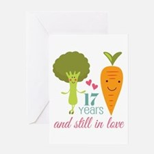 17 Year Anniverary Veggie Couple Greeting Card