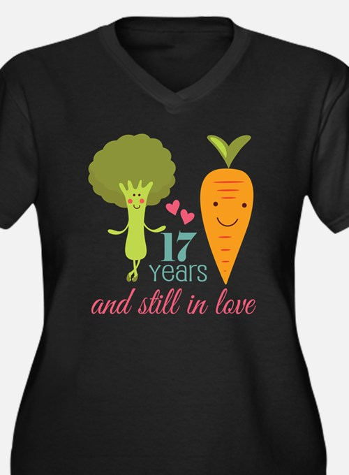 17 Year Anniverary Veggie Couple Women's Plus Size