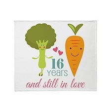 16 Year Anniverary Veggie Couple Throw Blanket