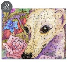 shy flower cerise frame square Puzzle