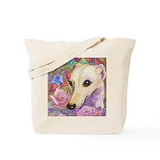 shy flower cerise frame square Tote Bag