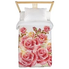 Artistic Pink Roses Twin Duvet Cover