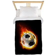Soccer Fire Ball Twin Duvet Cover
