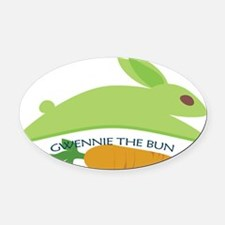 GwennieTheBunCarrot BLK Oval Car Magnet