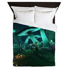 Luminous Mushrooms Queen Duvet Cover