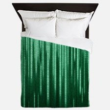 Green Binary Rain Queen Duvet
