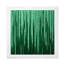Green Binary Rain Queen Duvet Cover