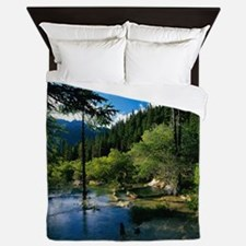 Mountain Forest Lake Queen Duvet Cover