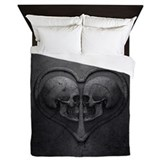 Gothic skull heart Duvet Covers